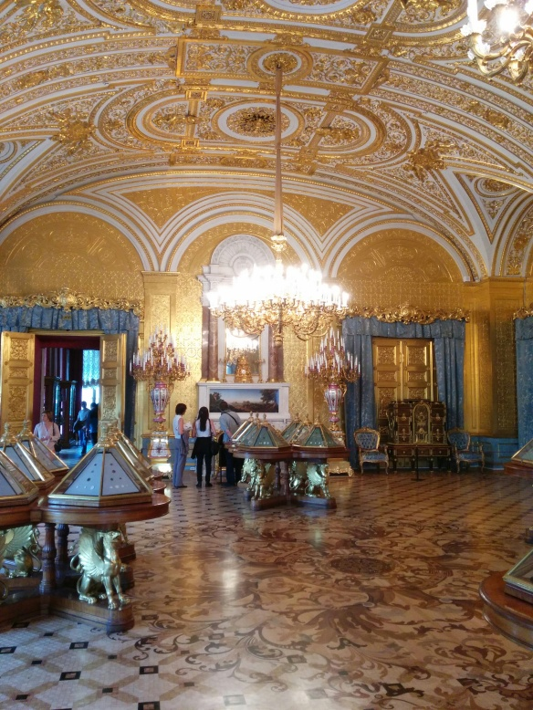 Some of the grand rooms are used to host art exhibits now