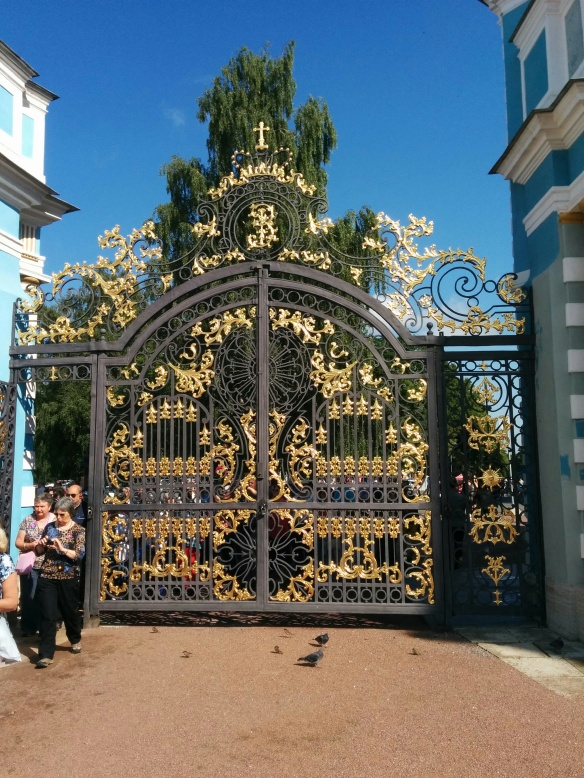 The Gates - the Catherine Palace was taken by the Nazis during the siege of Leningrad, and was very, very badly damaged. It's been mostly restored since then.